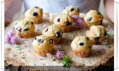 Muffins de arándanos, avena y yogurt griego