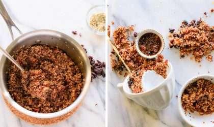 Receta caliente de nuez con quinoa y canela caliente
