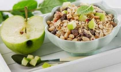 Cereales con manzana y nueces