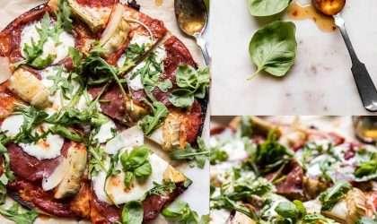 ¡En 15 minutos! prepara la mejor pizza de masa fina de rúcula y miel caliente.