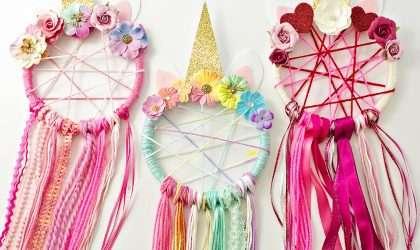 Adorna la fiesta de tu hija con estos lindos atrapasueños de unicornio